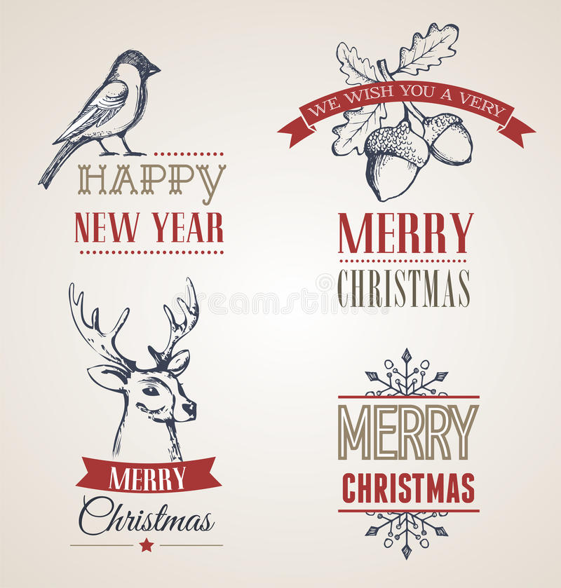 Julbegrepp med typografi och band royaltyfri illustrationer