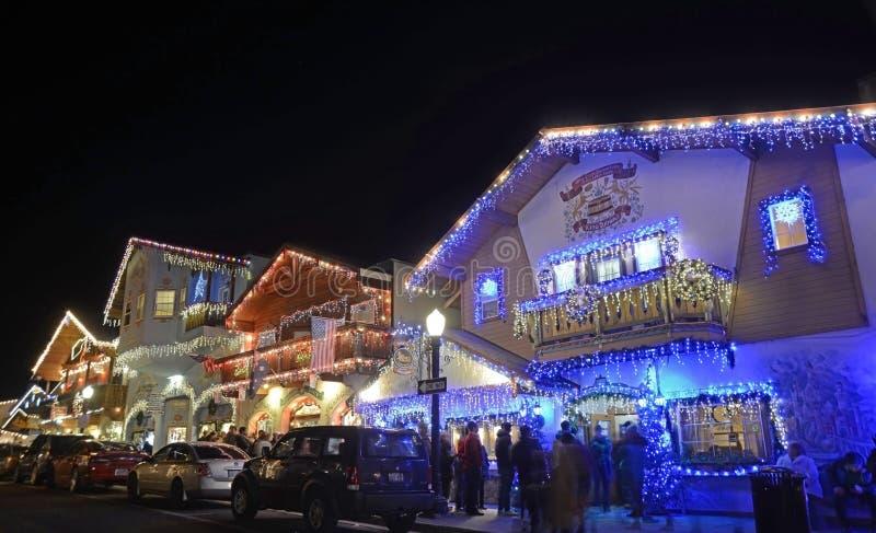 Julbelysning i Leavenworth 9 arkivfoton