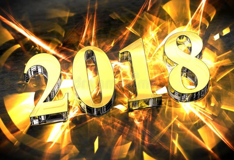 Julberöm för nytt år 2018 med guld- caustics vektor illustrationer