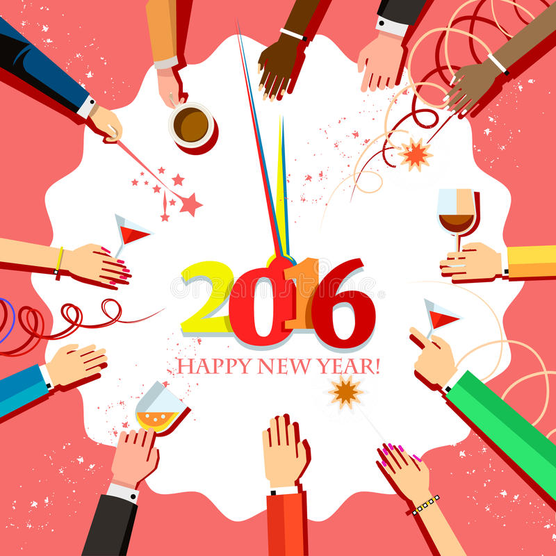 Julberöm 2016 med folkhänder och exponeringsglas i deras händer, bästa sikt royaltyfri illustrationer