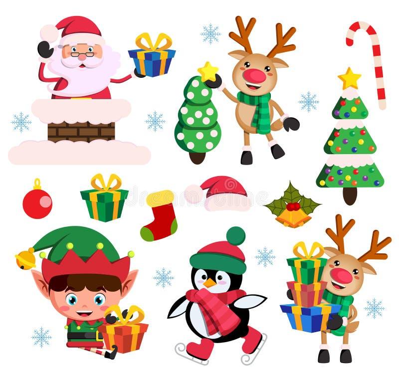 Julbeståndsdelar sänker vektoruppsättningen med Santa Claus, älva- och rentecken stock illustrationer