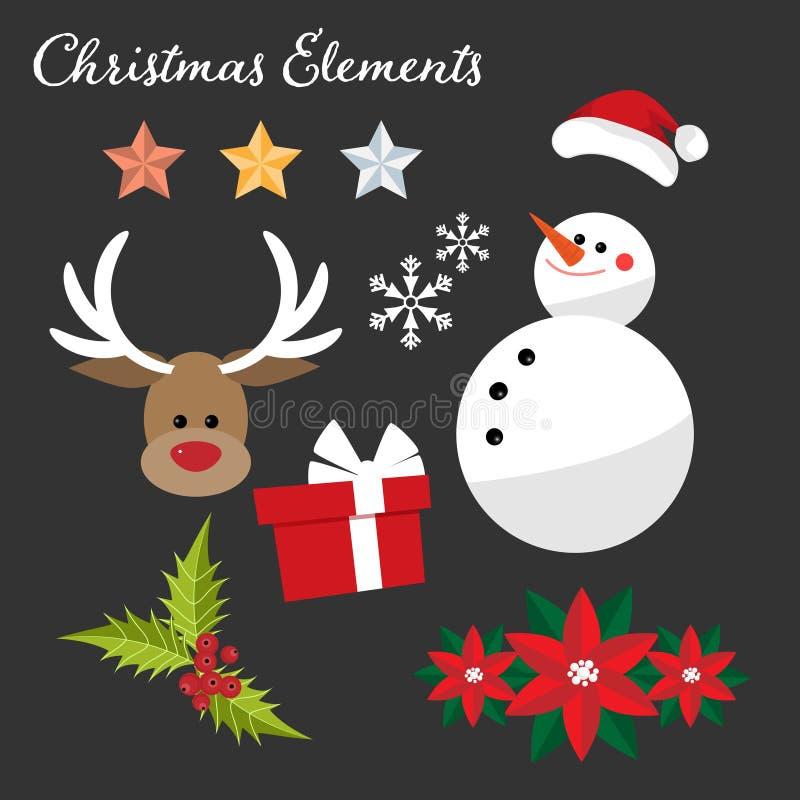 Julbest?ndsdelsamlingen i plan design med sn?gubben, jultomten hatten, stj?rnan, renen, jul blommar, j?rnekb?r och g?vaasken royaltyfri illustrationer