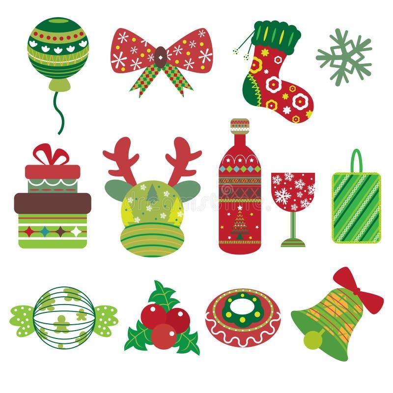 Julbeståndsdelsymboler royaltyfri illustrationer