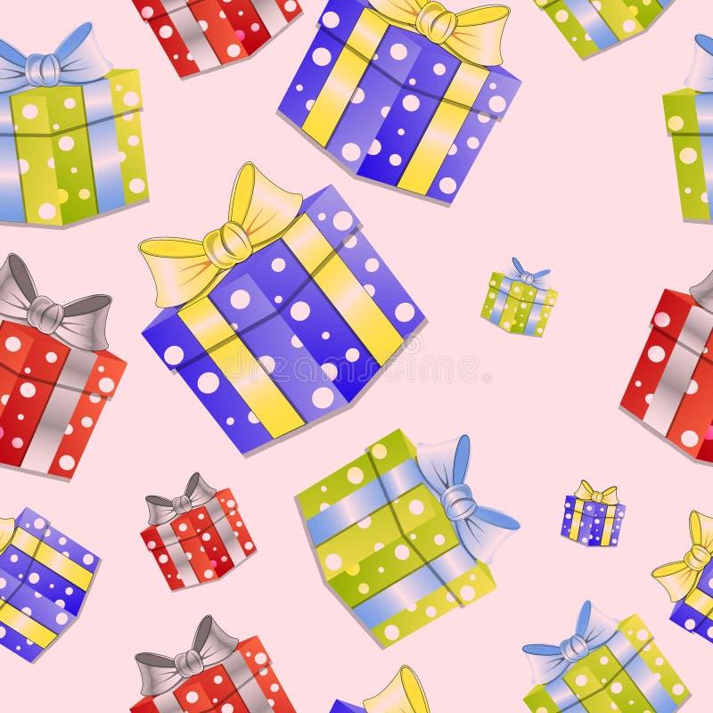 Julbild Gåvor, presentlåda Sömlösa mönster vektor illustrationer