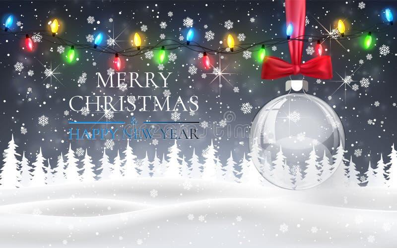 Julboll med den röda pilbågen, snöig nattskogsmarklandskap med fallande snö, granar, den ljusa girlanden, snöflingor för vinter o vektor illustrationer