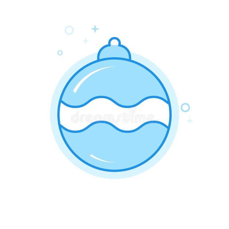 Julboll, plan vektorsymbol för garnering, symbol, Pictogram, tecken Ljust - blå monokrom design Redigerbar slaglängd royaltyfri illustrationer