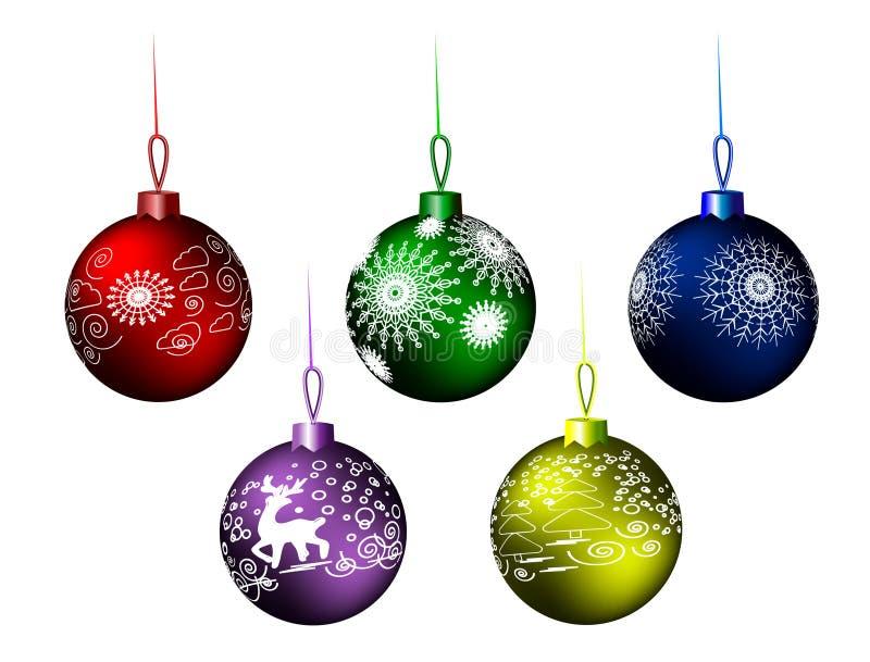 Julbollar; Bakgrund; jul sfär som är ny, vinter, glansigt som hänger, illustration, röda nya år helgdagsafton som är metallisk, d royaltyfri illustrationer