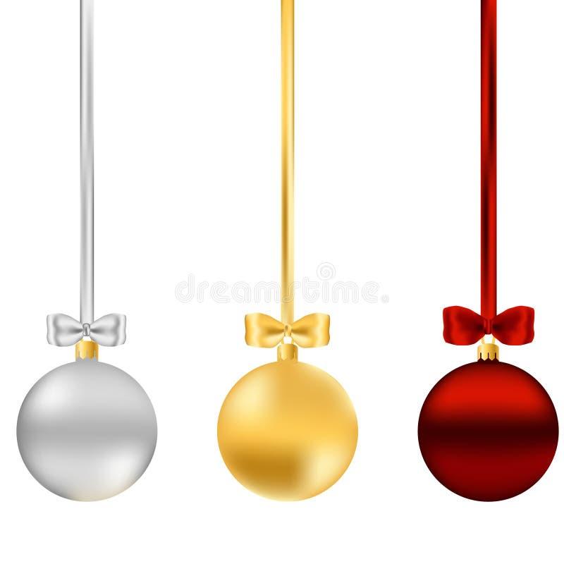 Julbollar med bandpilbågar royaltyfria foton