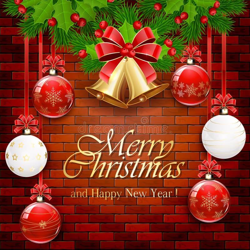Julbollar och guld- klockor på en tegelstenvägg royaltyfri illustrationer