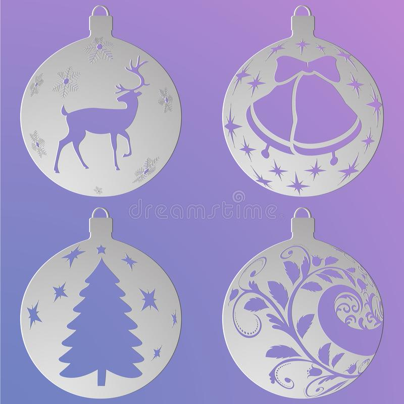Julbollar ställde in med hjortar, en julgran, en krullning och klockor, snitt ut ur papper vektor illustrationer