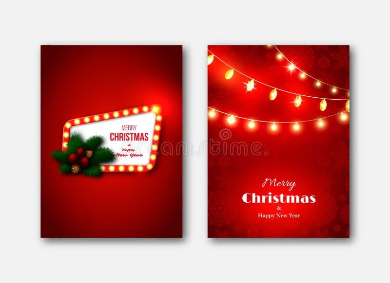 Julbroschyrmallar, dekorativa kort Retro ramintelligens vektor illustrationer