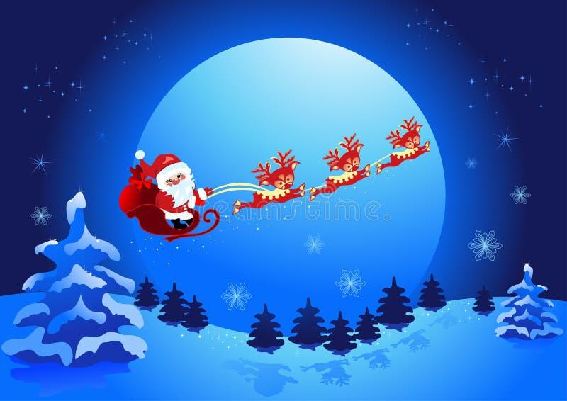 julclaus natt santa stock illustrationer