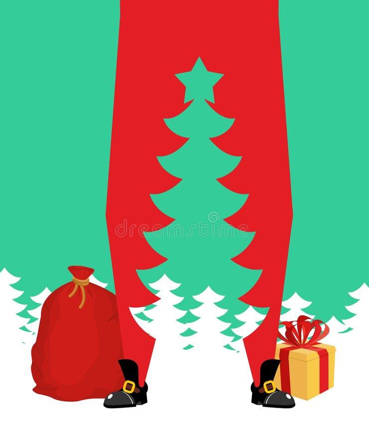 julclaus santa tree hög jultomten och kontur av spr royaltyfri illustrationer