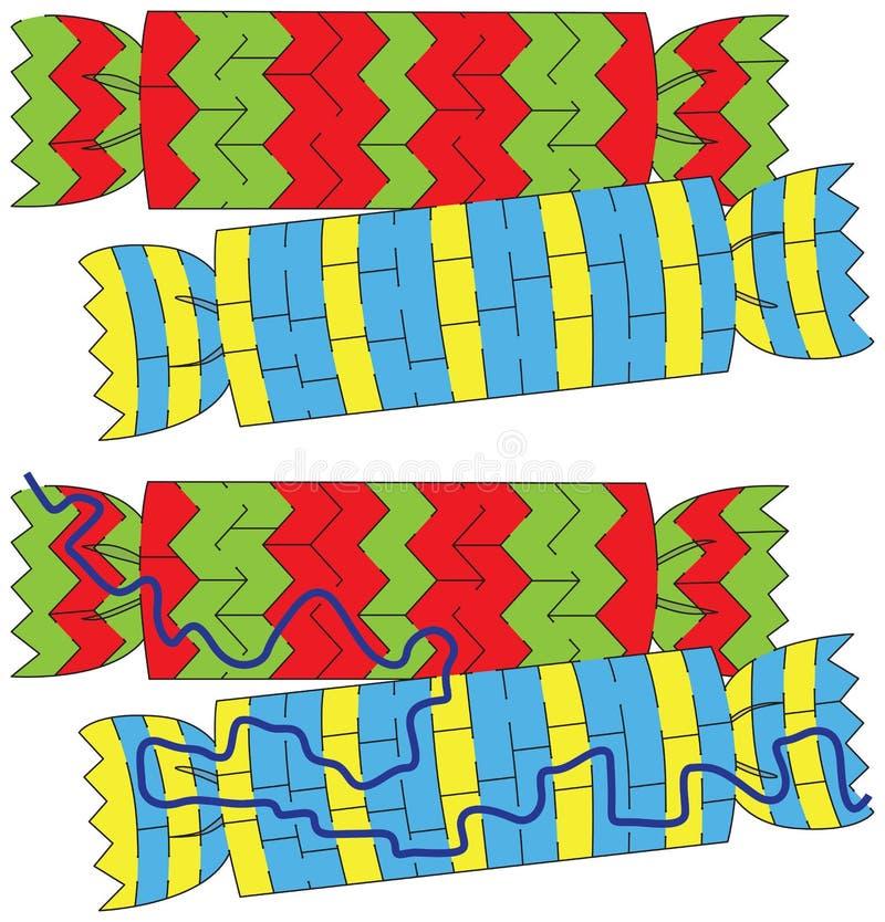 Julcrakerslabyrint vektor illustrationer