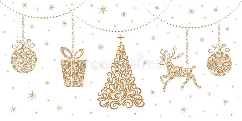 Juldekorationer: Julgranen, renar, gåva, julbollar Isolerade objekt på vit bakgrund vektor illustrationer