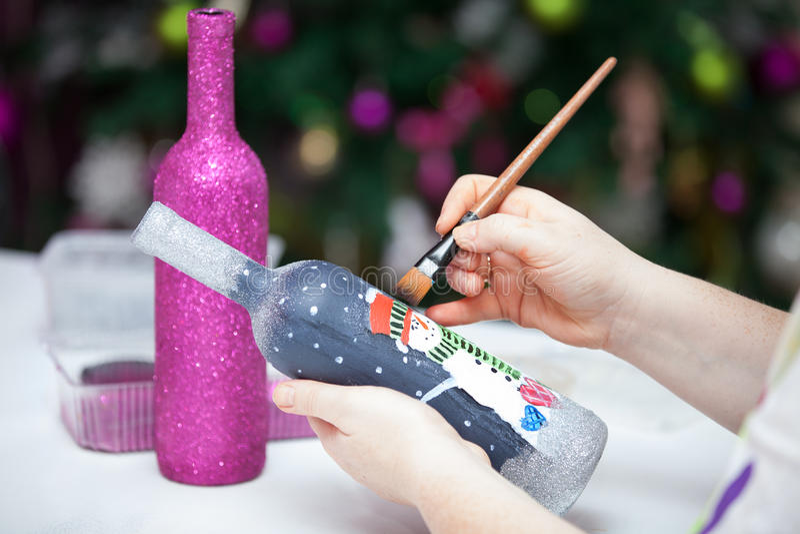 Juldekorflaskor fotografering för bildbyråer