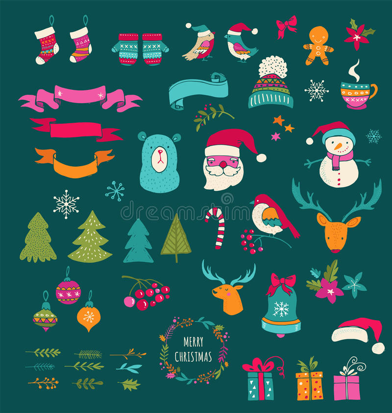 Juldesignbeståndsdelar - klottra Xmas-symboler, symboler vektor illustrationer