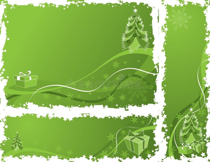 juldesignelement inramniner grungevektorn royaltyfri illustrationer