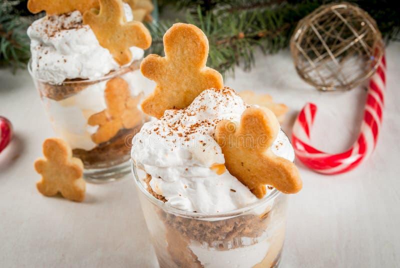 Julefterrätt, roliga Ginger Trifle royaltyfri fotografi
