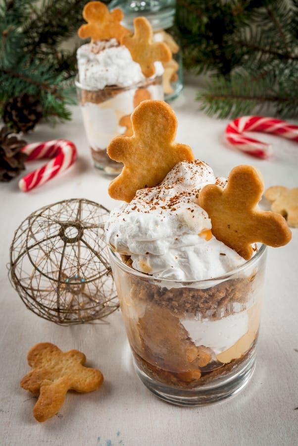 Julefterrätt, roliga Ginger Trifle royaltyfria foton