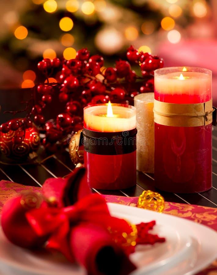 Julen bordlägger inställningen royaltyfria foton