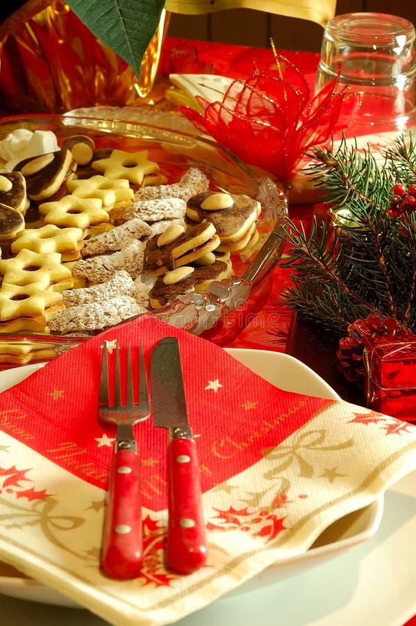 Julen bordlägger inställningen arkivfoto