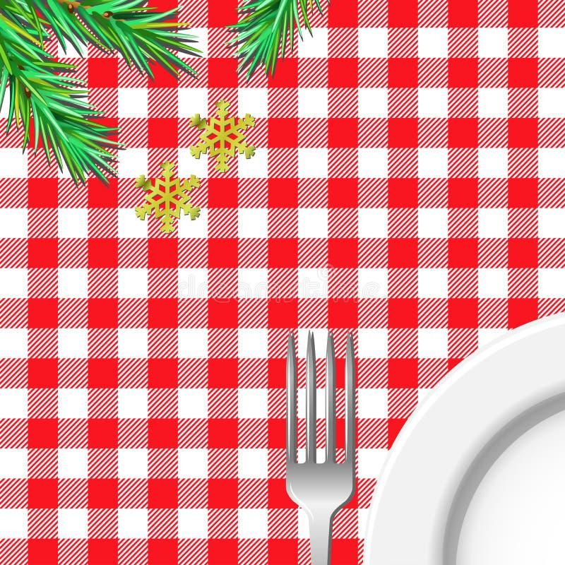Julen bordlägger STÄLLESERVICE ÄTA I FÖRBEREDELSE stock illustrationer
