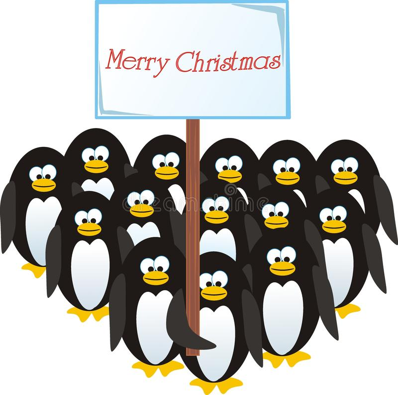 julen gratulerar pingvin royaltyfri foto