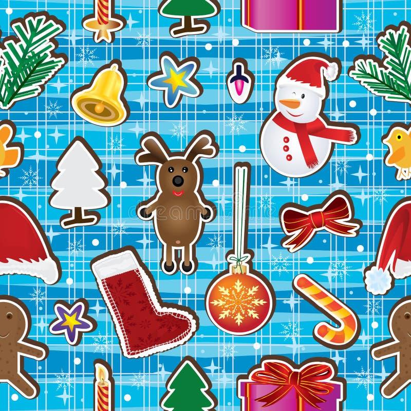 Julen håller den lyckliga Seamless modellen royaltyfri illustrationer