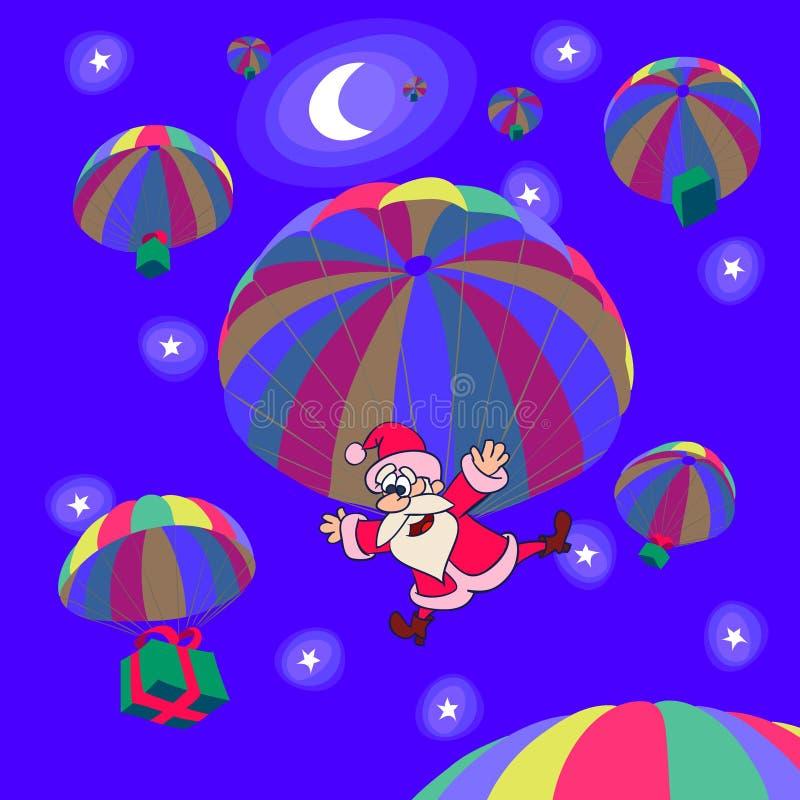 julen hoppa fallskärm vektor illustrationer