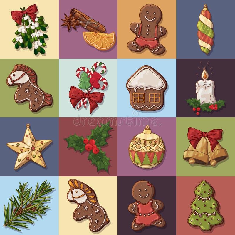 julen isolerade xmas för etiketter för etikettseten vit royaltyfri illustrationer
