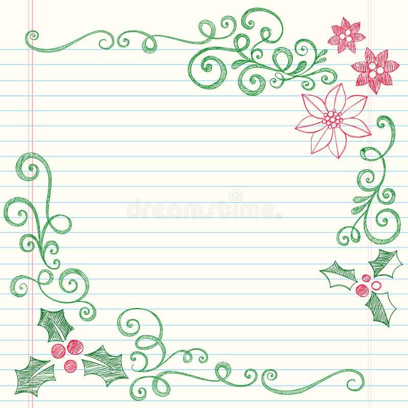 julen klottrar tecknade den sketchy handjärneken stock illustrationer