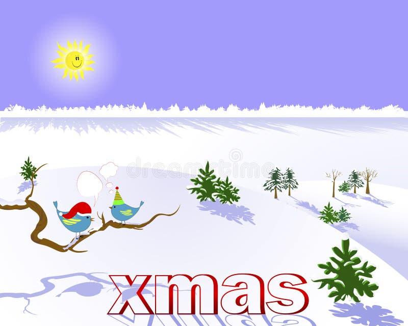 Julen landscape med två fåglar. royaltyfri illustrationer