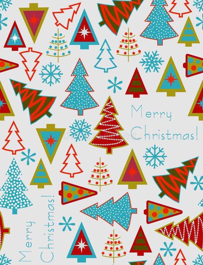 julen mönsan den seamless treesvektorn vektor illustrationer