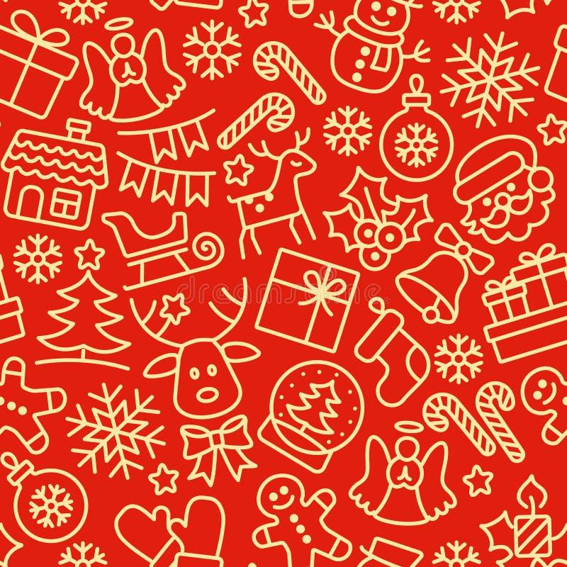 julen mönsan seamless bakgrundsfärger semestrar röd yellow royaltyfri illustrationer