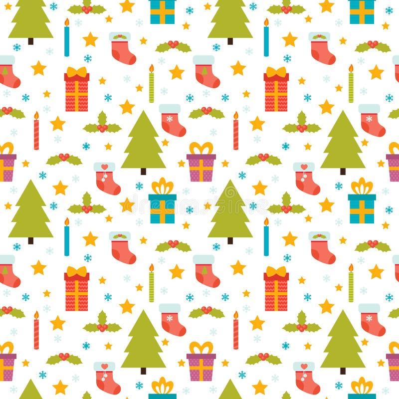 julen mönsan seamless Gullig bakgrund med julgranen, vektor illustrationer