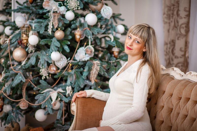 julen near den gravida treekvinnan arkivfoto