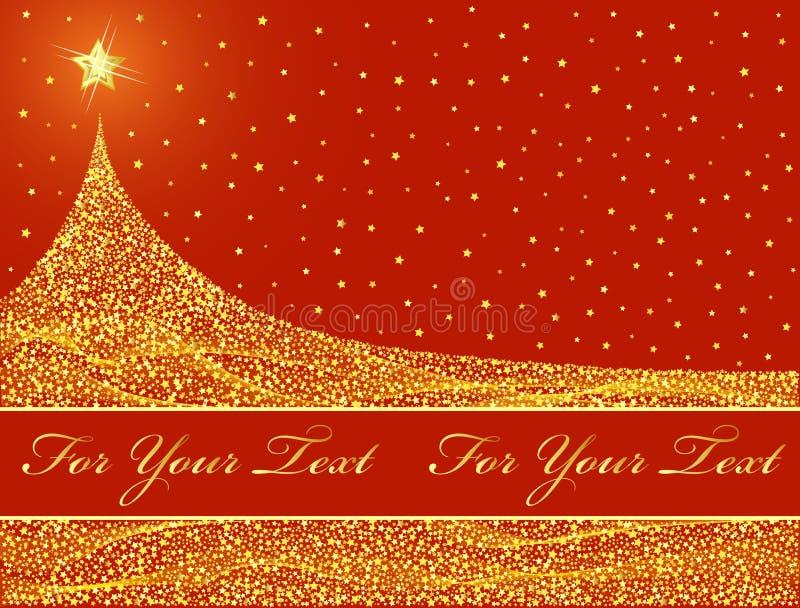 julen planlägger den guld- treen royaltyfri illustrationer