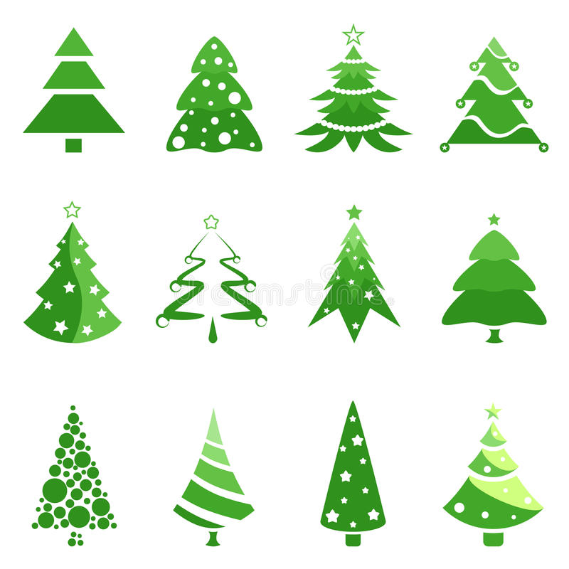 julen sörjer treen stock illustrationer