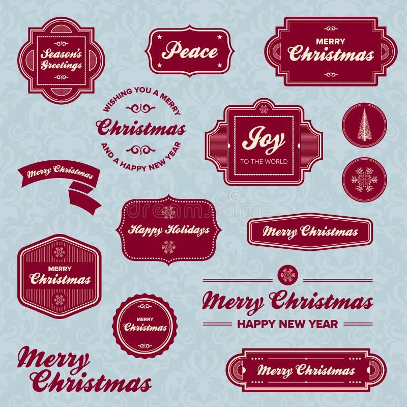 julen semestrar etiketter stock illustrationer