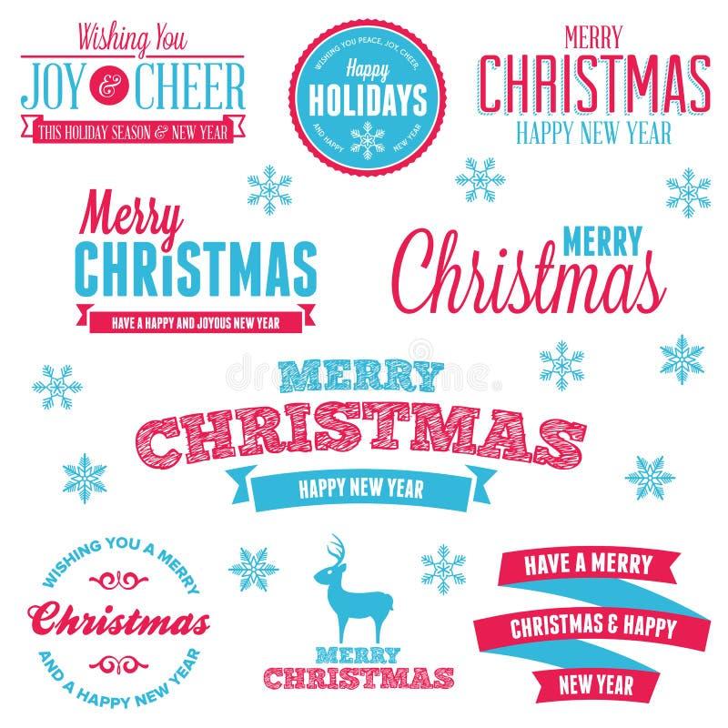 Julen semestrar etiketter vektor illustrationer
