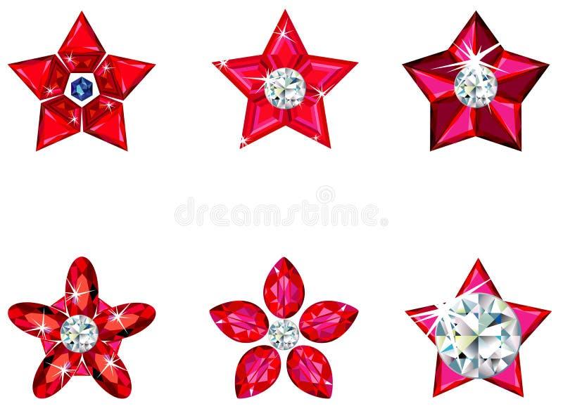 julen smyckar set stjärnor stock illustrationer