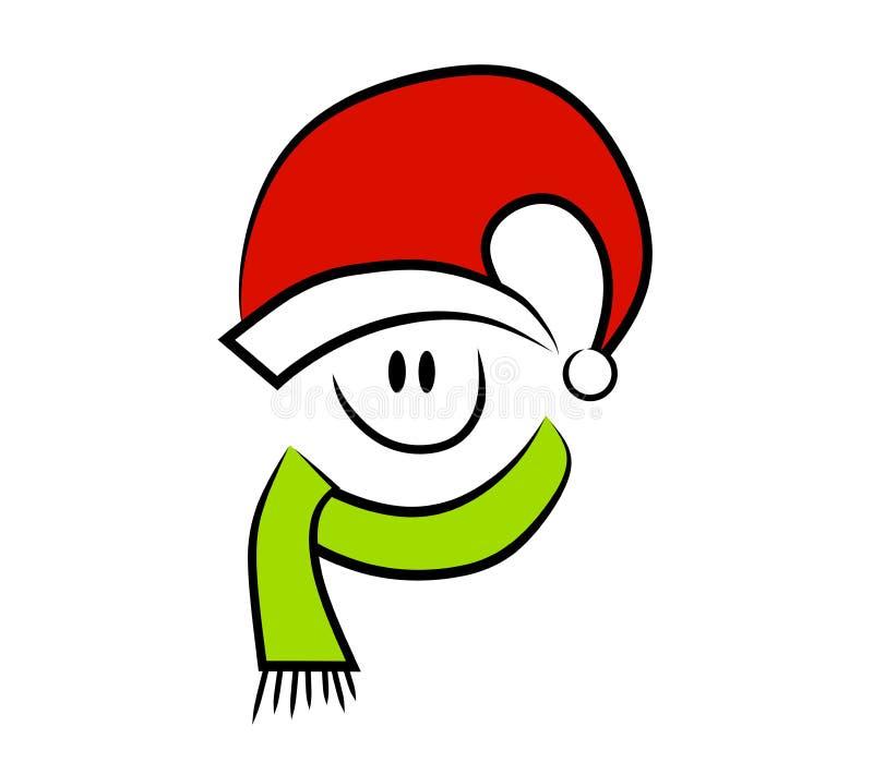 julen vänder lyckligt le mot vektor illustrationer