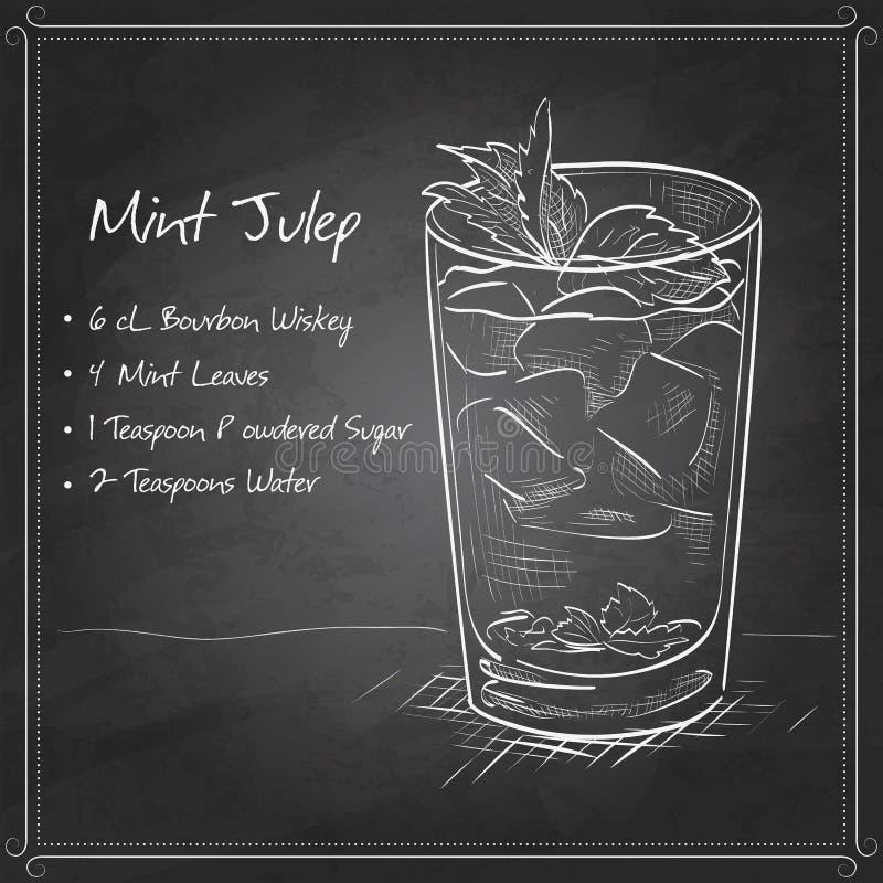 Julep мяты коктеиля на черной доске иллюстрация вектора