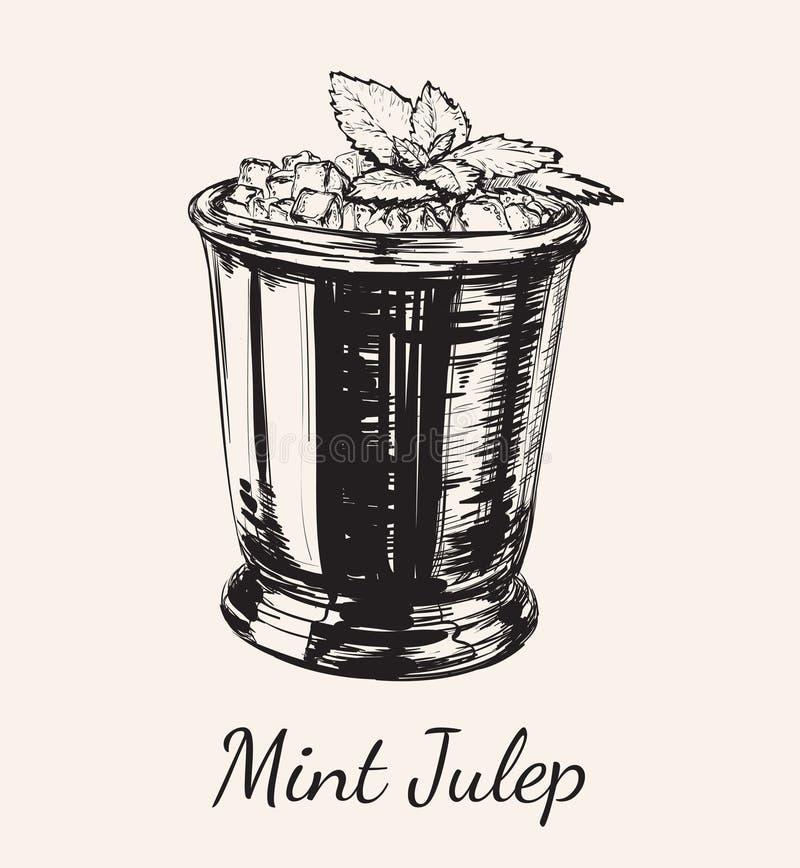 Julep мяты коктеиля для иллюстрации вектора чертежа руки Дерби бесплатная иллюстрация