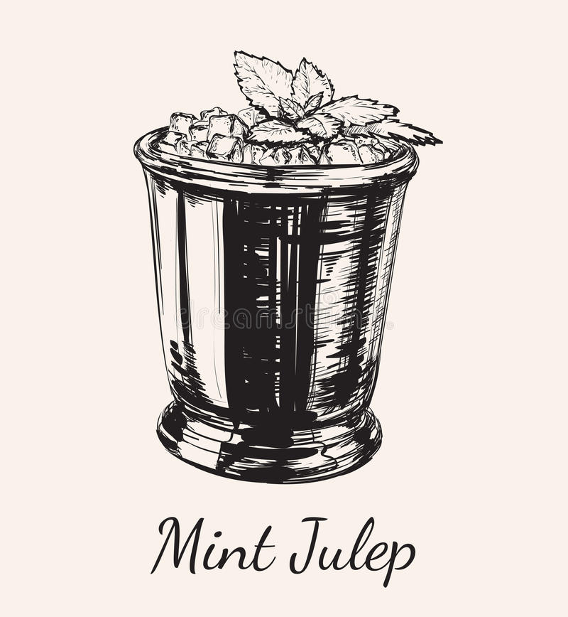 Julep en bon état de cocktail pour Derby Hand Drawing Vector Illustration illustration libre de droits