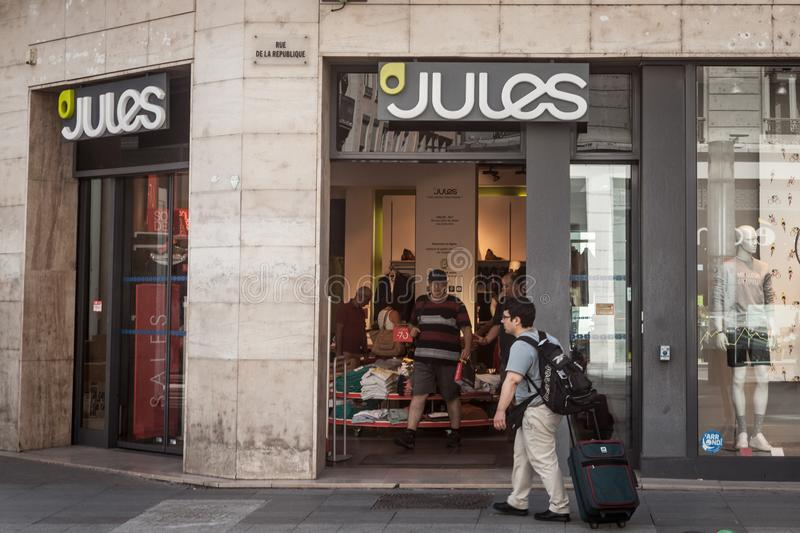 Jules Logo in front of their shop for Lyon. Jules is a French fashion retailer focused on men clothing, spread in the country. LYON, FRANCE - JULY 13, 2019 stock images