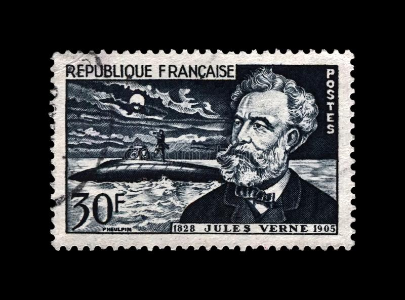 Jules Verne, famous science writer and Nautilus submarine, France, circa 1955, royalty free stock photography