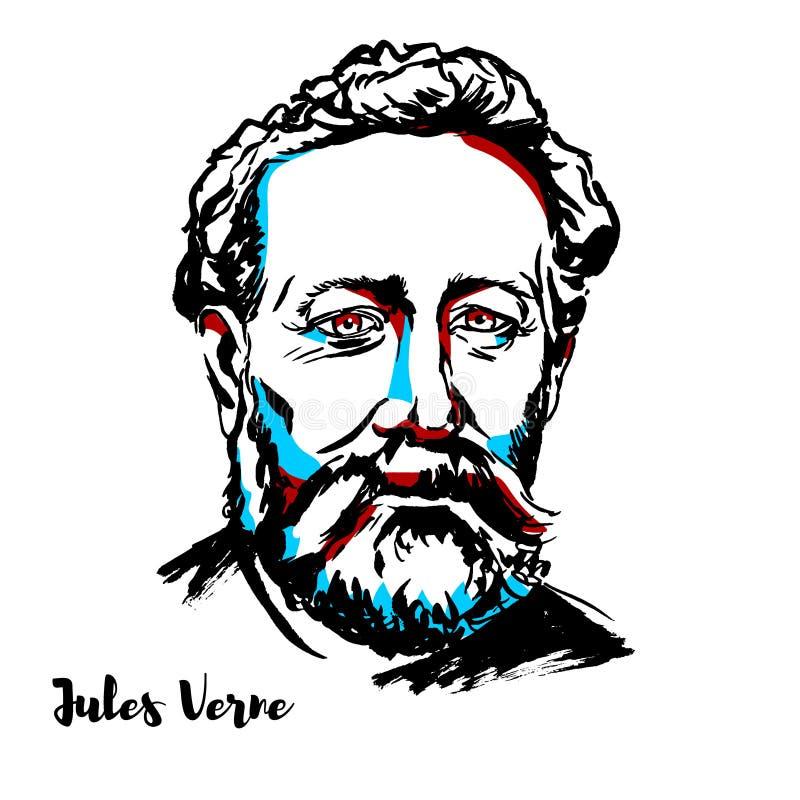 Jules Verne portret ilustracja wektor