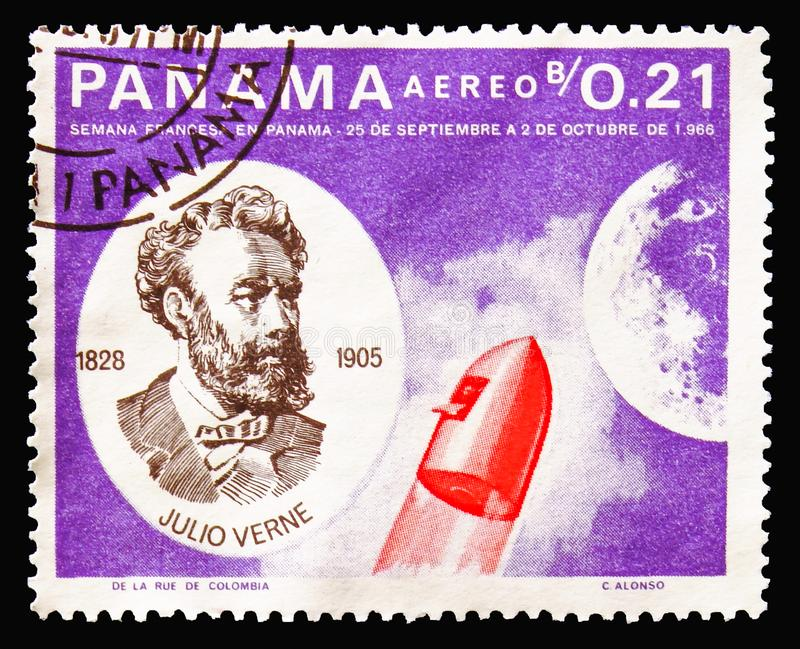 Jules Verne and rocket, Jules Verne serie, circa 1966 stock photos
